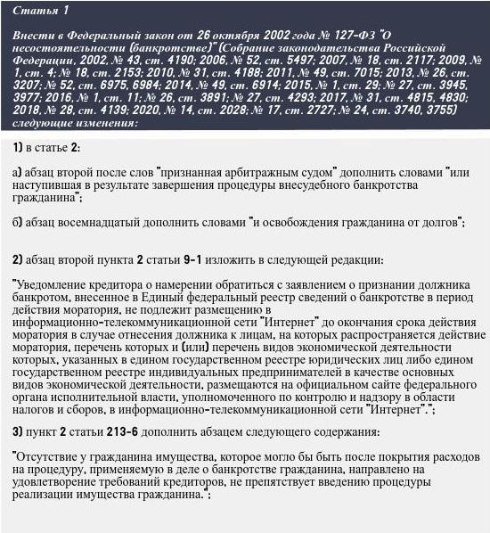 Изображение текста статьи с изменениями в ФЗ №127 О несостоятельности (банкротстве) от 31 июля 2020 года, сайт арбитражного управляющего Юлии Шилиной